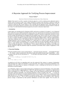 A Bayesian Approach for Verifying Process Improvement Nasser Safaie*