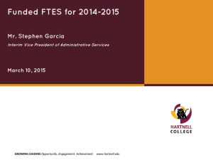 Funded FTES for 2014-2015 Mr. Stephen Garcia March 10, 2015
