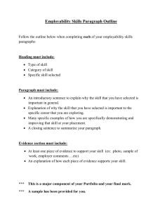 Employability Skills Paragraph Outline