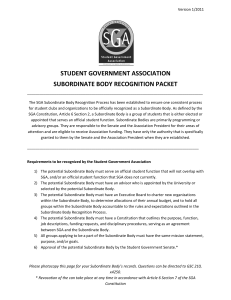 STUDENT GOVERNMENT ASSOCIATION SUBORDINATE BODY RECOGNITION PACKET
