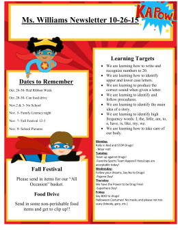 Ms. Williams Newsletter 10-26-15 Learning Targets
