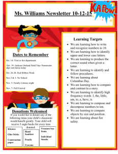 Ms. Williams Newsletter 10-12-15 Dates to Remember Learning Targets