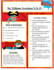 Ms. Williams Newsletter 9-21-15 Dates to Remember Learning Targets