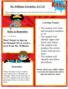 Ms. Williams Newsletter  8-17-15
