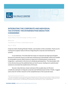 INTEGRATING THE CORPORATE AND INDIVIDUAL TAX SYSTEMS: THE DIVIDENDS PAID DEDUCTION CONSIDERED