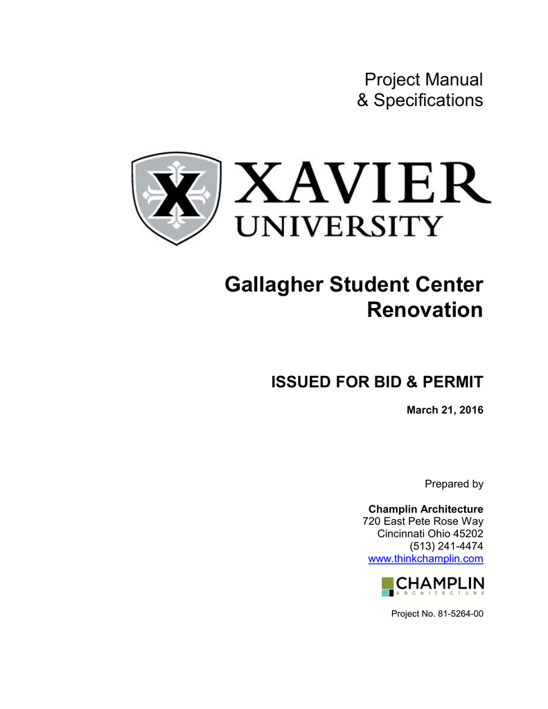 Gallagher Student Center Renovation Project Manual on