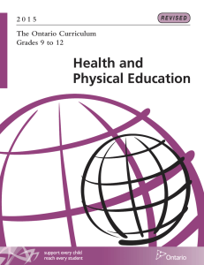Health and Physical Education 2 0 1 5 The Ontario Curriculum