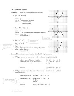 1.5B – Polynomial Functions  Sketch the following polynomial functions;