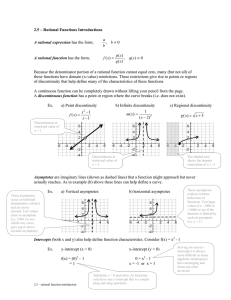2.5 – Rational Functions Introductions  ≠ 0