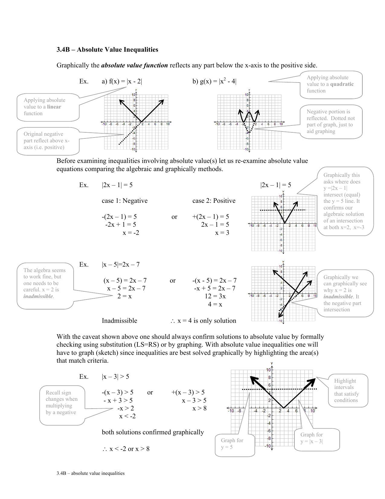 25.25B – Absolute Value Inequalities absolute value function Ex. Regarding Graphing Absolute Value Equations Worksheet