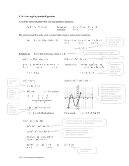 3.10 – Solving Polynomial Equations