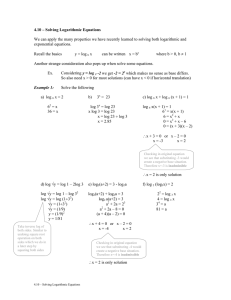 4.10 – Solving Logarithmic Equations  exponential equations.