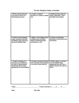 Medieval Tic-Tac-Toe for Student Choice Activities