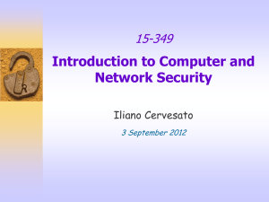 Introduction to Computer and Network Security 15-349