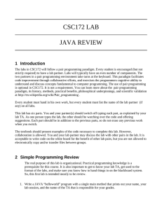 CSC172 LAB JAVA REVIEW 1 Introduction