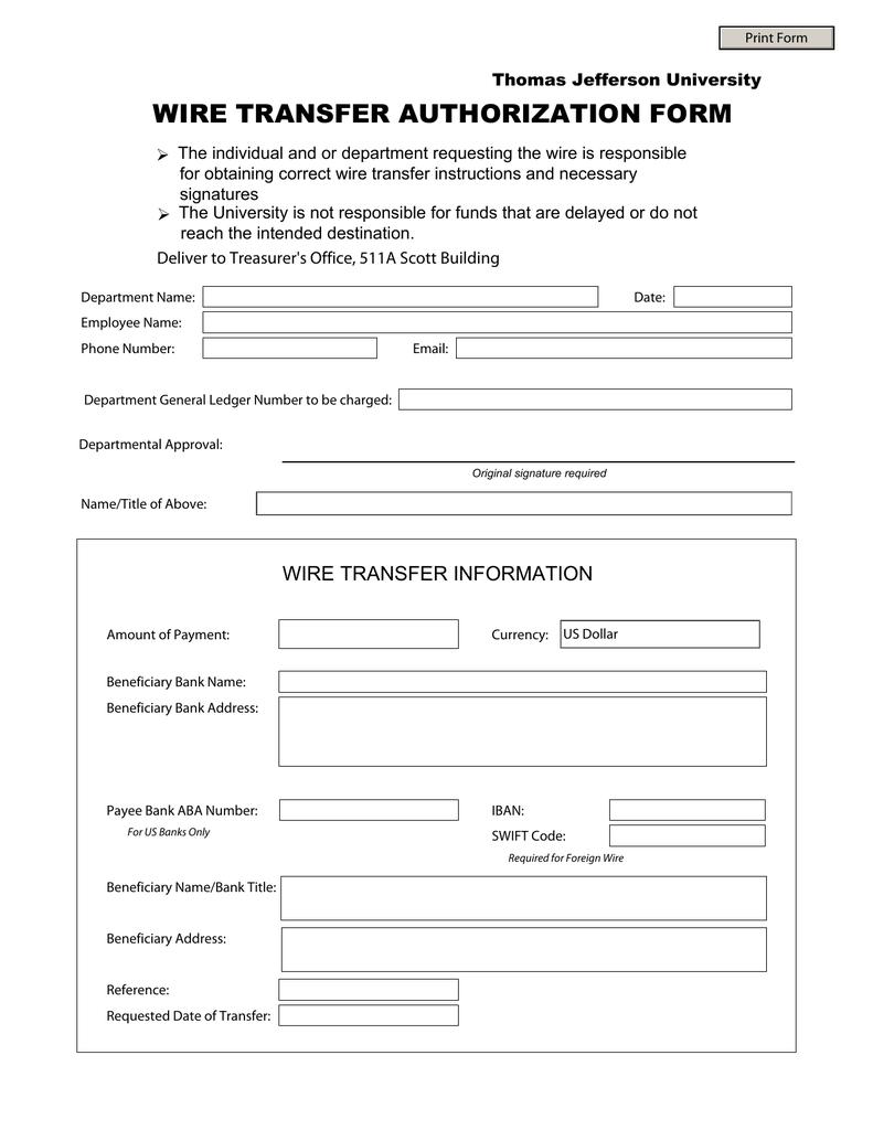 Wire Transfer Authorization Form