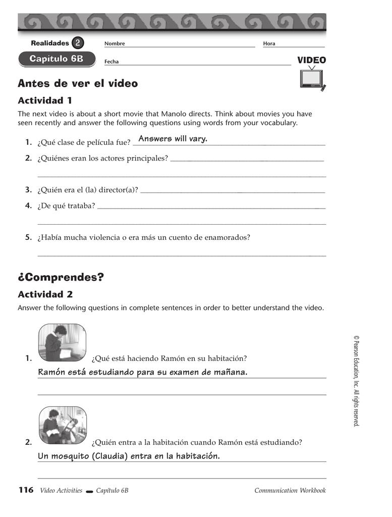 Workbooks realidades 1 capitulo 5b workbook answers : Antes de ver el video Actividad 1 VIDEO