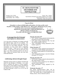 ST. BONAVENTURE DECEMBER 2008 NEWSLETTER