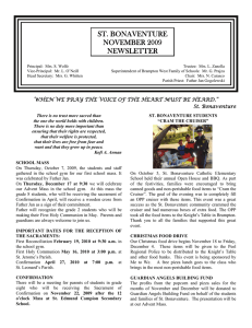 ST. BONAVENTURE NOVEMBER 2009 NEWSLETTER