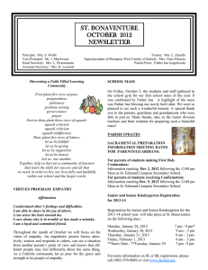ST. BONAVENTURE OCTOBER  2012 NEWSLETTER
