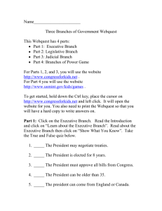 Name______________________  Three Branches of Government Webquest This Webquest has 4 parts: