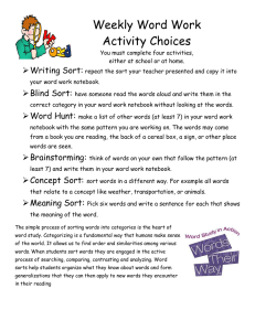 Weekly Word Work Activity Choices Writing Sort: 