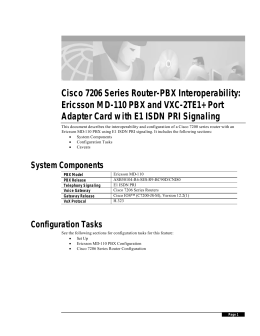 Cisco 7206 Series Router-PBX Interoperability: Ericsson MD-110 PBX and VXC-2TE1+ Port
