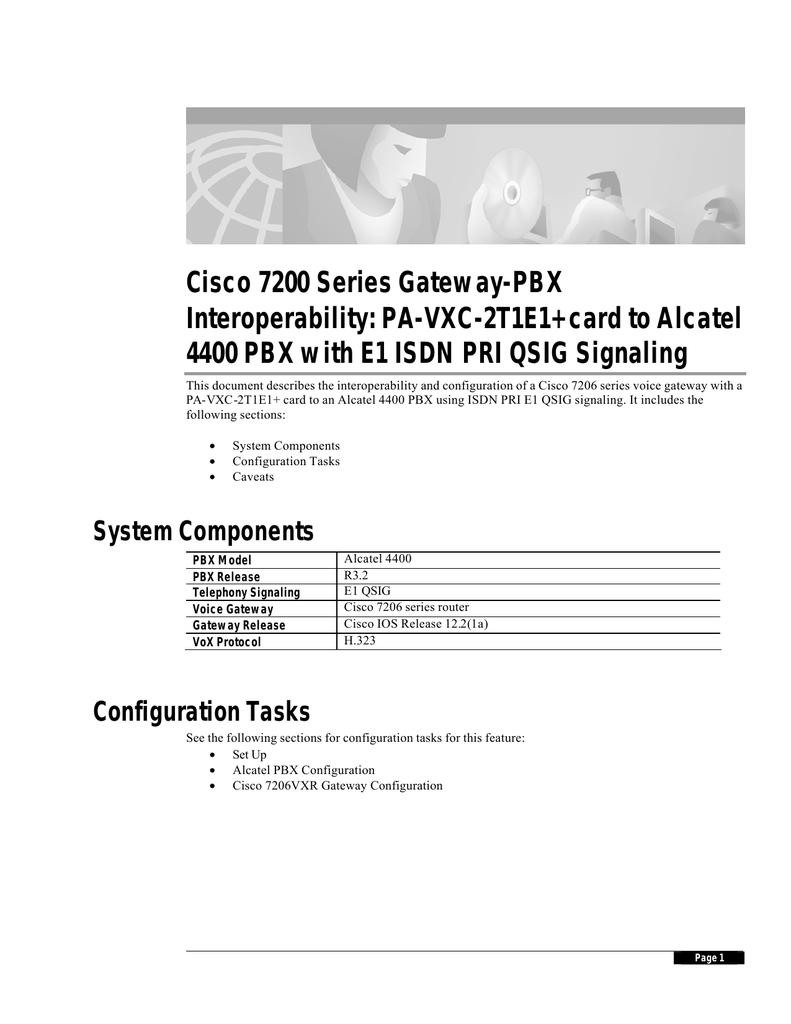 Cisco 7200 Series Gateway-PBX Interoperability: PA-VXC-2T1E1+ card