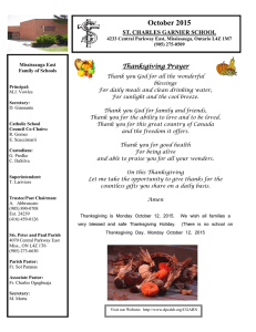 October 2015 ST. CHARLES GARNIER SCHOOL Thanksgiving Prayer