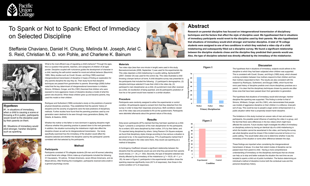 To Spank or Not to Spank: Effect of Immediacy Abstract