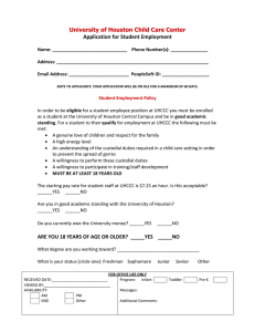 University of Houston Child Care Center  Application for Student Employment