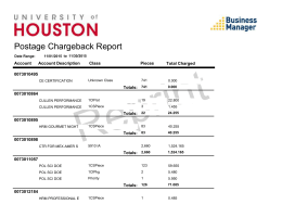 Postage Chargeback Report