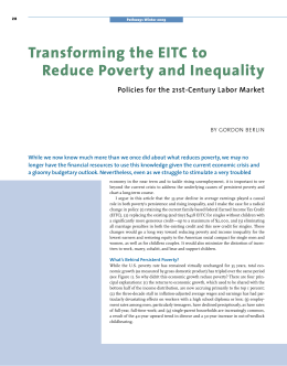 Transforming the EITC to Reduce Poverty and Inequality