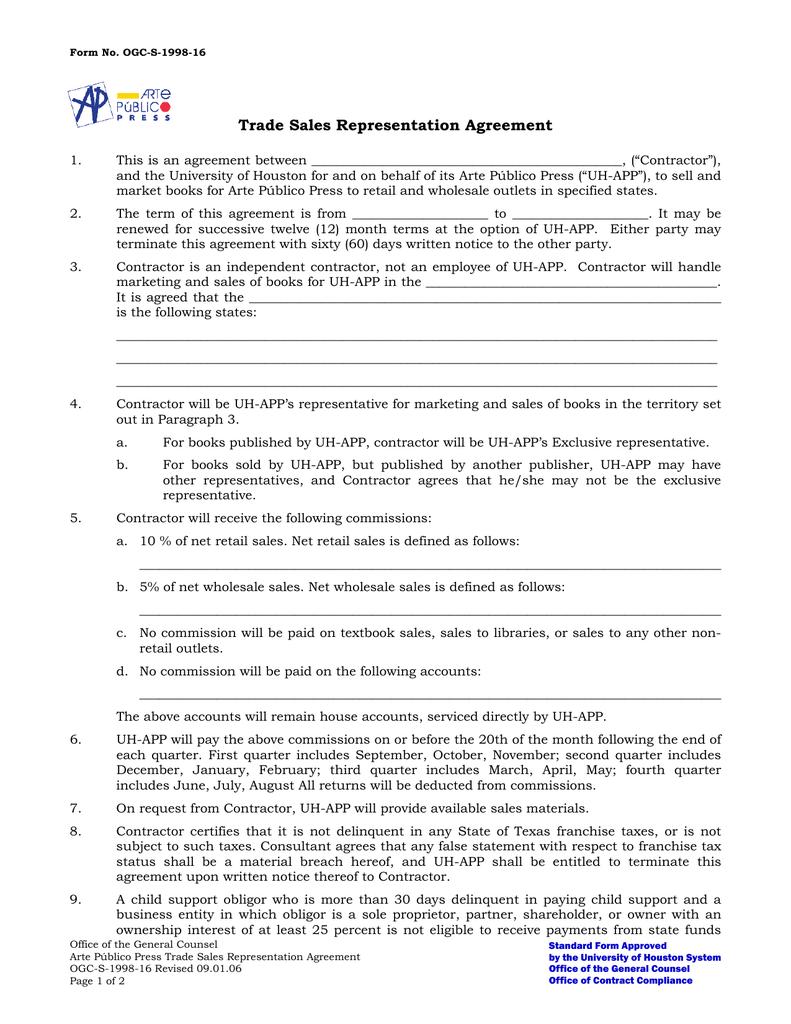 Trade Sales Representation Agreement