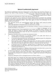 Bilateral Confidentiality Agreement