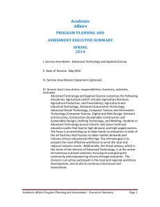 Academic Affairs PROGRAM PLANNING AND ASSESSMENT EXECUTIVE SUMMARY