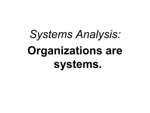 Systems Analysis: Organizations are systems.