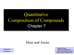 Quantitative Composition of Compounds Chapter 7 Hein and Arena