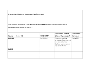 Program Level Outcome Assessment Plan (Summary) Assessment Method Assessment