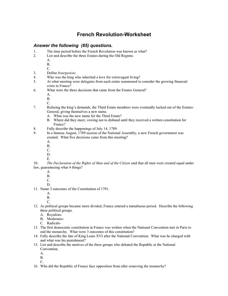 French RevolutionWorksheet Answer the following 65 questions – French Revolution Worksheet
