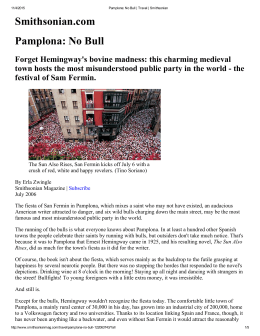 Smithsonian.com Pamplona: No Bull
