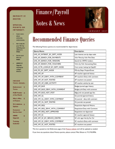 Finance/Payroll Notes & News Recommended Finance Queries