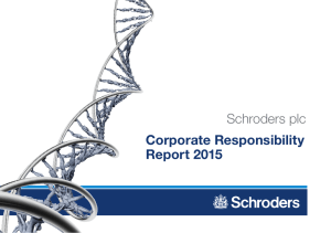 Corporate Responsibility Report 2015 Schroders plc