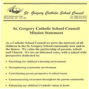 ~ St, St. Gregory Catholic School Council Mission Statement
