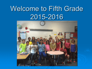 Welcome to Fifth Grade 2015-2016