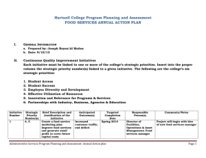 Hartnell College Program Planning and Assessment FOOD SERVICES ANNUAL ACTION PLAN