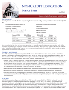 NonCredit Education Policy Brief Community College League of California April 2014
