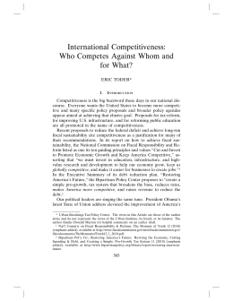 International Competitiveness: Who Competes Against Whom and for What?