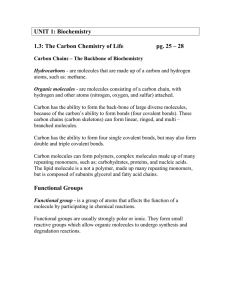 UNIT 1: Biochemistry  1.3: The Carbon Chemistry of Life
