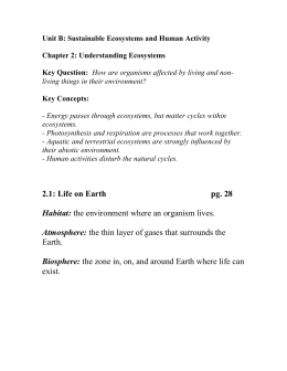 Unit B: Sustainable Ecosystems and Human Activity Chapter 2: Understanding Ecosystems